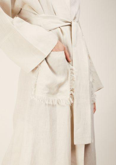 Caftanii kimono lino beige con tasche