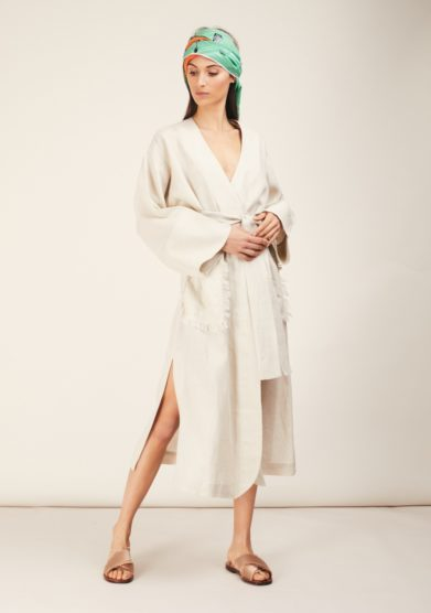 Kimono lino beige caftanii firenze