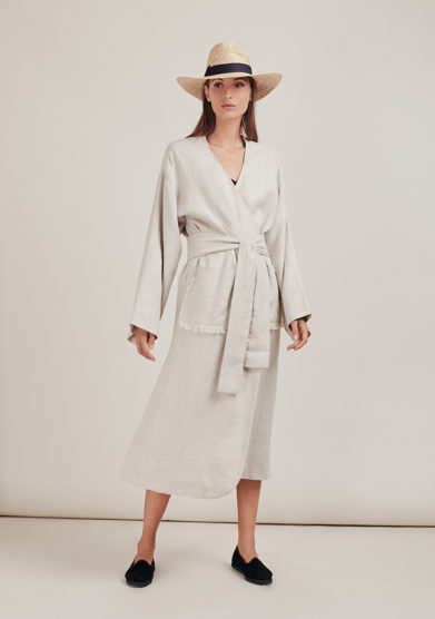 kimono dakota lino beige con cintura caftanii firenze