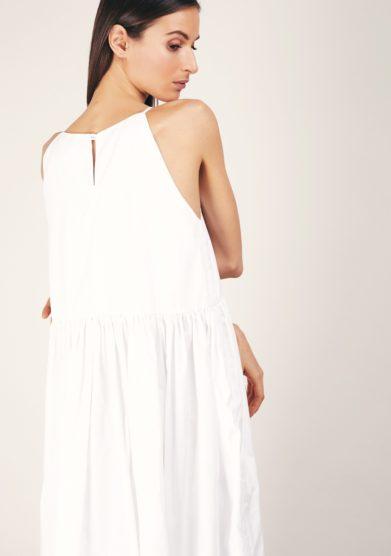 Cris thin abito lungo bianco senza maniche