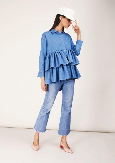 Camicia doppia balza azzurra cris thin