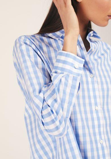 Camicia celeste quadretti cris thin
