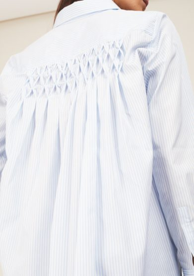 Camicia righe celesti punto smock cris thin
