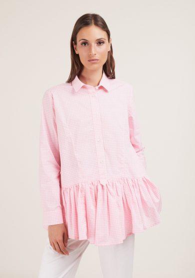 camicione vichy rosa con balza Cris thin