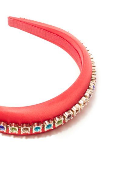 Cerchietto raso rosso con cristalli colorati elyb hats