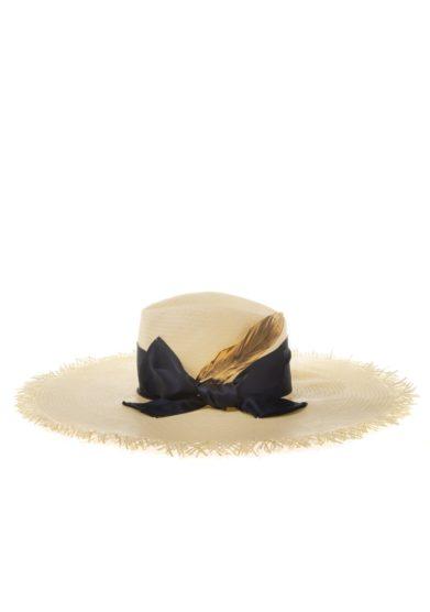 Ely b hats cappello paglia nastro blu