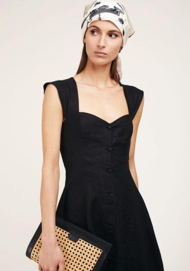 Gioia bibi abito camilla nero di lino spalline larghe