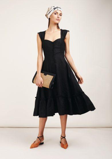 Gioia bini abito camilla con balza nero lino