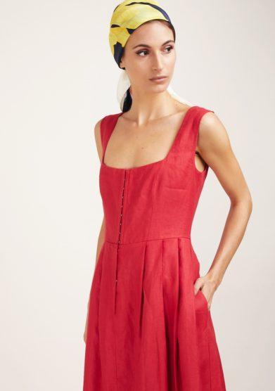 Gioia bini abito lino rosso scollo quadrato