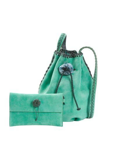 Secchiello iacobella in suede verde