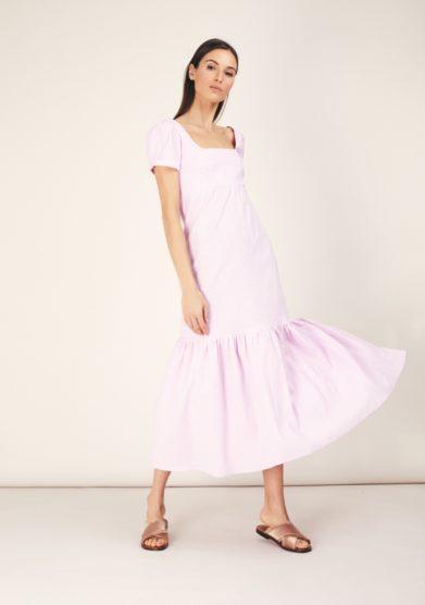 Abito midi cotone vichy rosa madunine milano