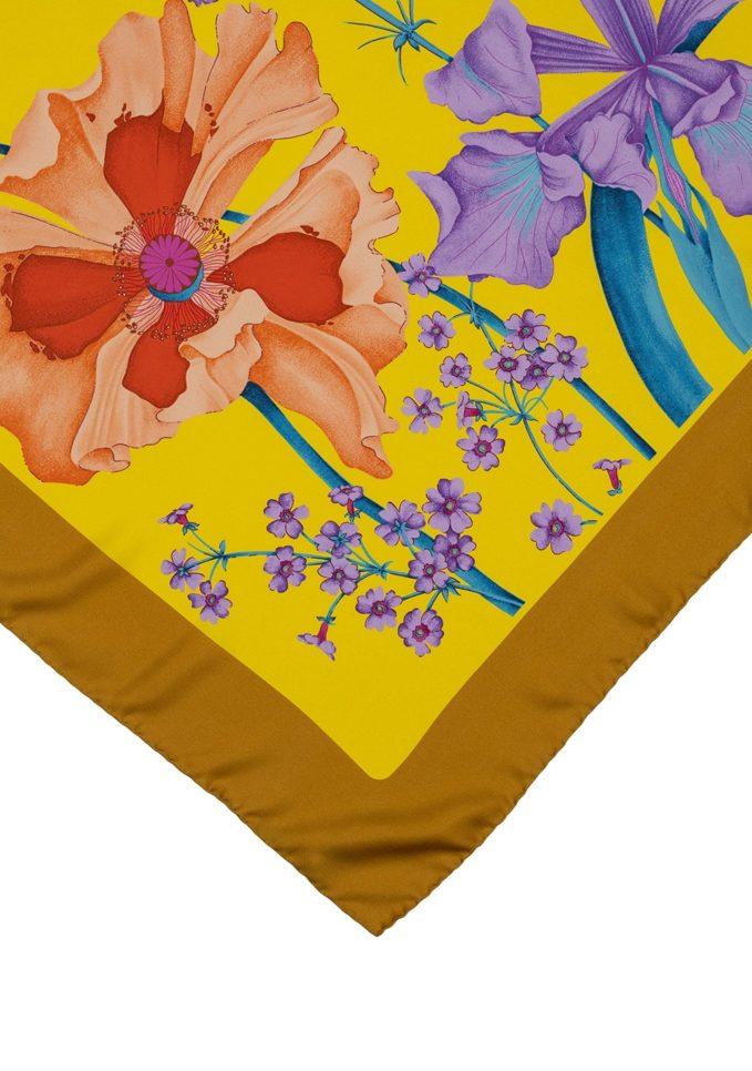 Matero foulard seta fantasia floreale giallo classic carré