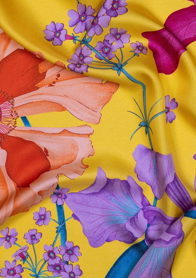 foulard fantasia seta iris giallo mantero