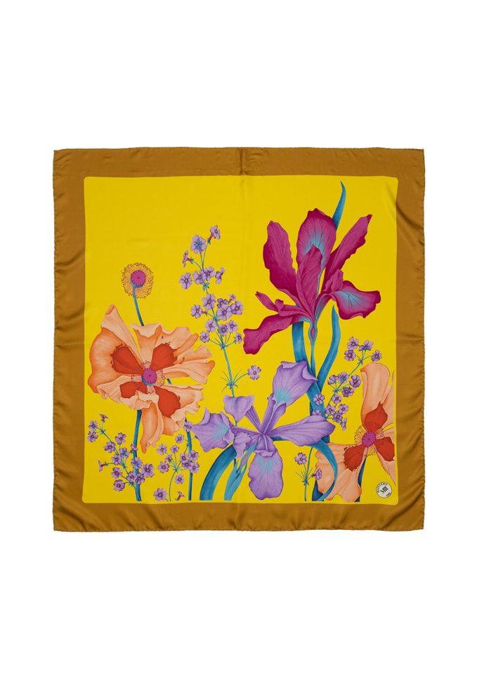 Classic carré mantero foulard seta fantasia giallo