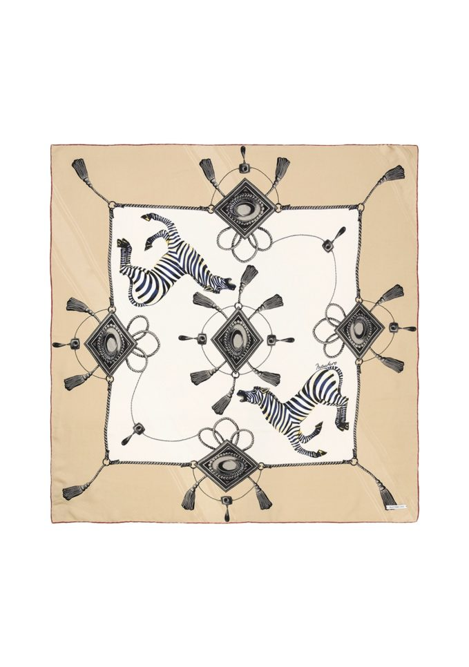 Mantero foulard seta classic carré zebre beige