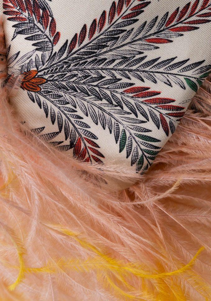Mantero borsa mini secchiello piume seta