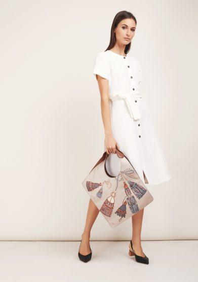 abito bianco lino mezza con bottoni odette florence