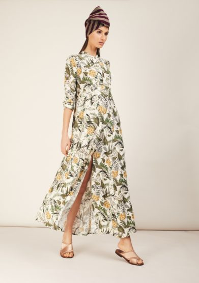 abito lungo con bottoni fantasia ananas odette florence