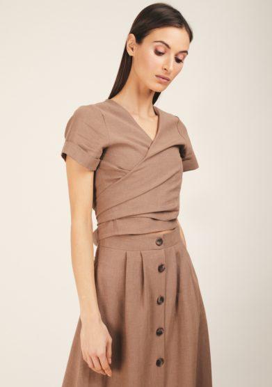 Camicia lino biscotto incrociata odette florence
