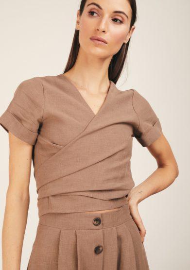 Odette florence camicia lino biscotto incrociata