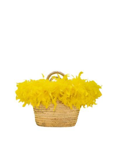 Coffa da spiaggia piume gialle pescepazzo