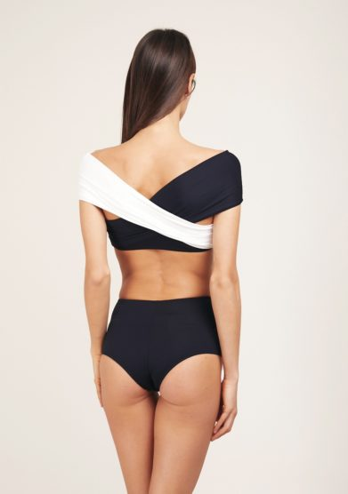 Bikini nero bianco incrocio soloblu