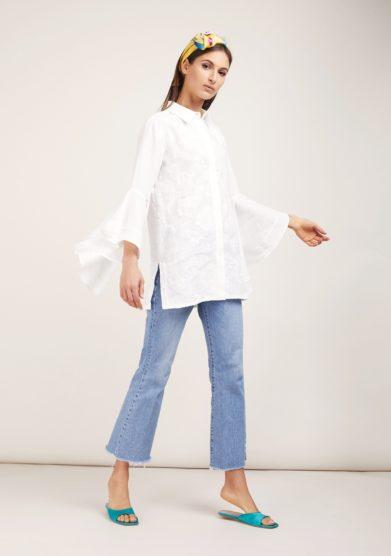 Camicia bianca ricamata lino soloblu