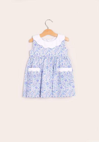 Baroni abito bambina cotone liberty azzurro