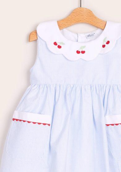 Baroni abito bambina cotone righe celesti e ciliegie