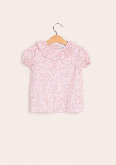 Camicia mezza manica fantasia floreale liberty rosa baroni