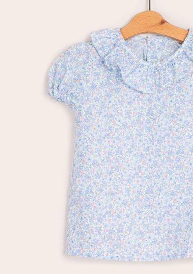 Baroni camicia fiori liberty azzurra