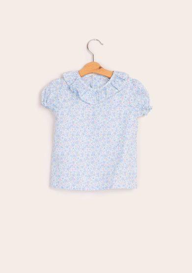 Camicia mezza manica cotone liberty azzurra baroni