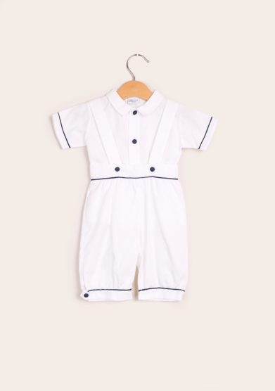Baroni completo cotone salopette e camicia bianco