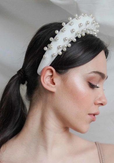 Bluetiful milano cerchietto cotton velvet bianco con perle
