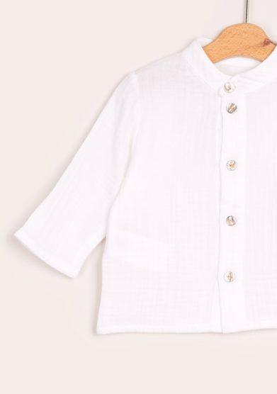 Camicia bambino coreana depetit mussola bianca