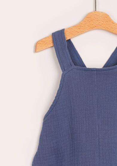 Pagliaccetto mussola di cotone blu corto