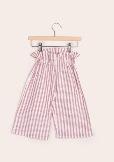 Pantaloni ampi bambina a righe lino depetit