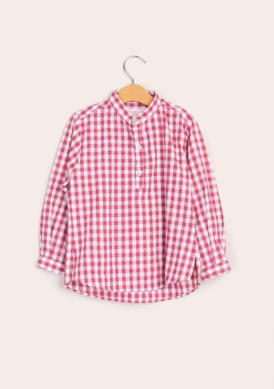 Camicia bambino coreana quadri rossa i marmottini