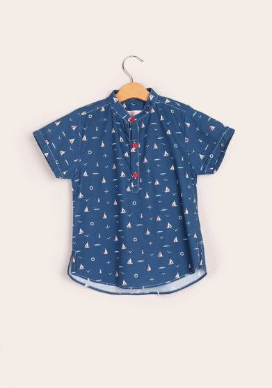 Camicia bambino mezza manica coreana blu i marmottini