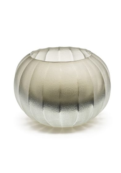 Vaso a coste silver in vetro di murano micheluzzi glass
