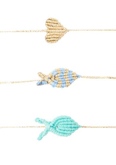 Orsina dansi bracciale macramè pesce oro azzurro