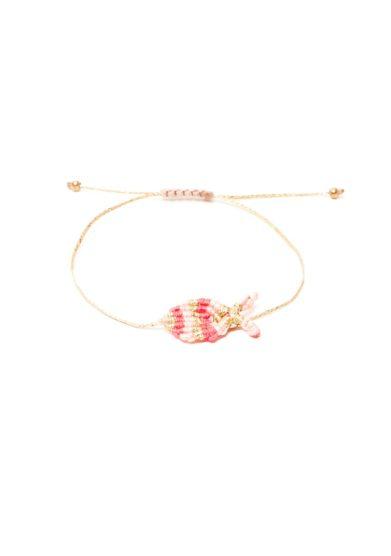 Orsina dansi bracciale macrame rosario fucsia