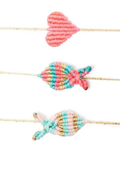 Bracciale macramè pesce rosa verde acqua oro orsina dansi
