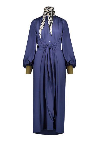 Vernisse abito midi seta blu viola con fusciacca zebrata