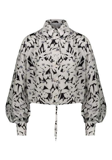 Camicia seta fantasia floreale bianca e nera vernisse