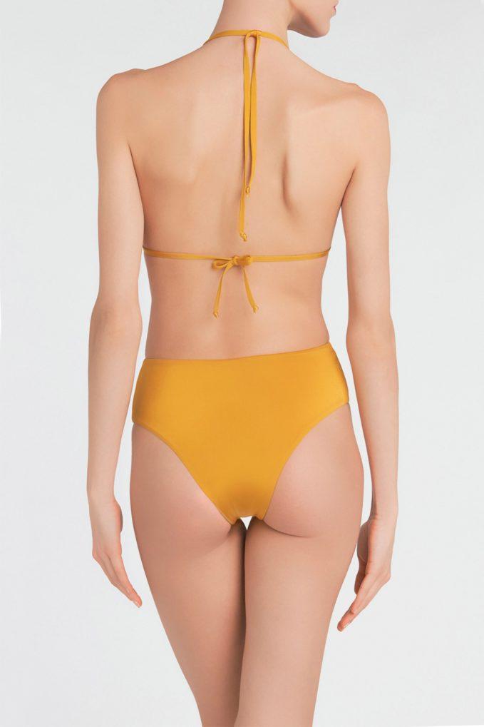 Top bikini triangolo crochet senape bolamì
