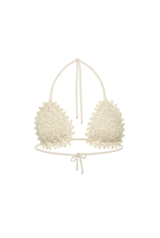 Bikini triangolo tendina crochet bolamì bianco panna