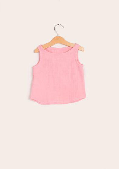 Canotta bambina depetit mussola di cotone rosa