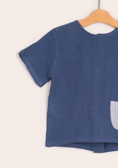 Depetit t shirt taschino blu mussola cotone