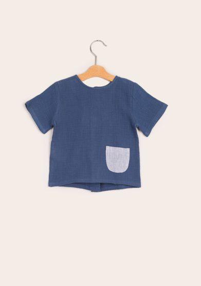 T shirt blu bambino taschino depetit